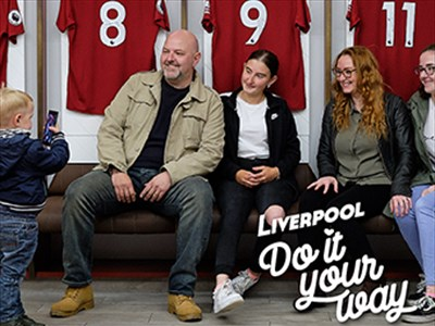 Kelly, Lee and their family in the LFC changing rooms.
