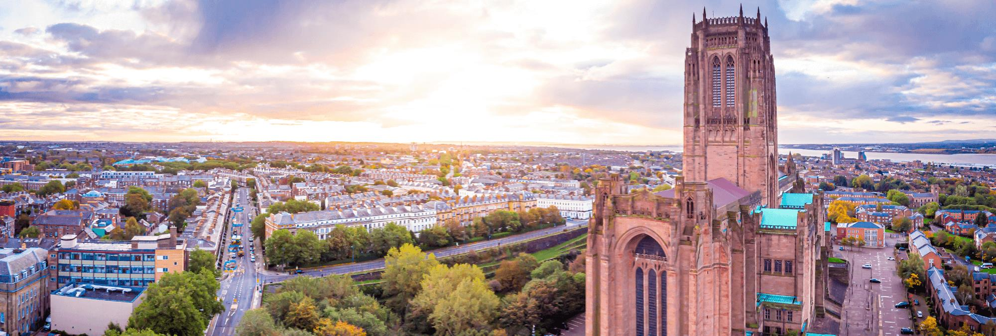 Liverpool from above, with a strong focus on Liverpool's Anglican Cathedral.