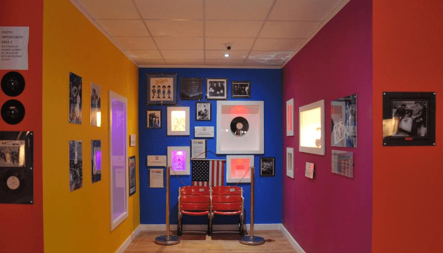 Memorabilia from the Beatles gigs in America. This shot includes two seats from the Shea Stadium.