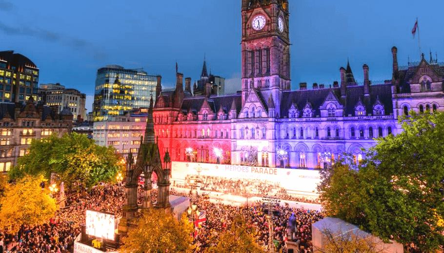 Manchester Town Hall with crowds