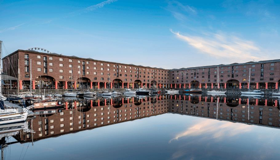 The iconic red columns and original listed building of the Royal Albert dock
