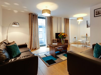 The open plan living room at Base Serviced Apartments