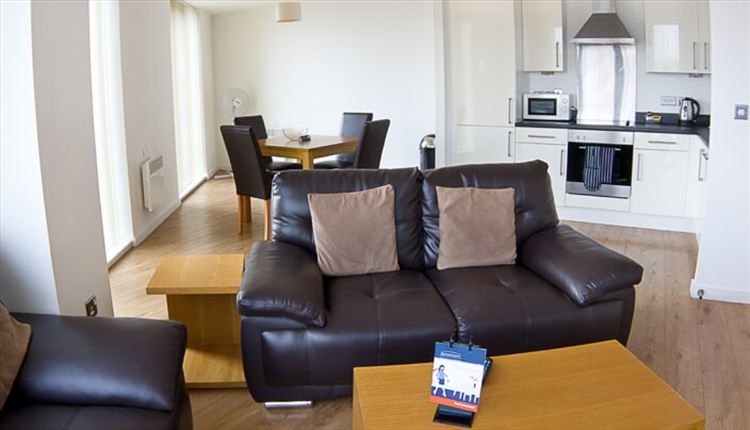 The living room area of an apartment
