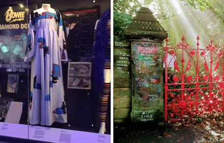 The left image is a collection of David Bowie's outfits. The right image is of the Strawberry Field Gates, with a ray of sunshine.