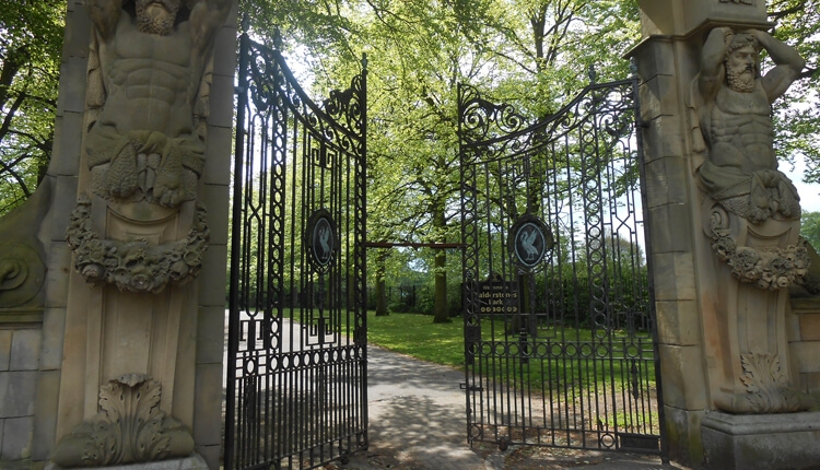 A large, ornate set of gates to a tree lined walkway. The gates have Liver bird at the centre of each one.