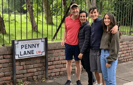 Tour group next to the Penny Lane sign