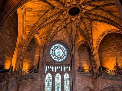 Inside the cathedral showing the impressive vaulted ceilings and stained glass windows