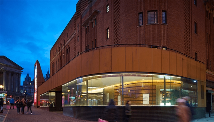 Exterior shot of the Royal Court Theatre in the evening.