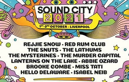 sound City line-up poster featuring artist names and colourful patterns.