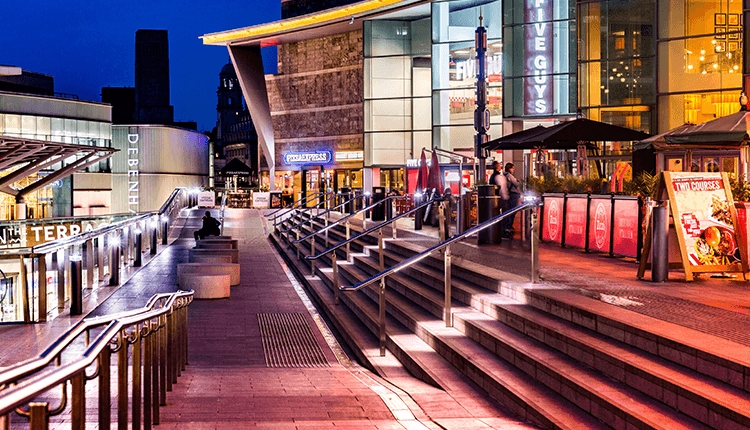 The Terrace at Liverpool ONE at night time