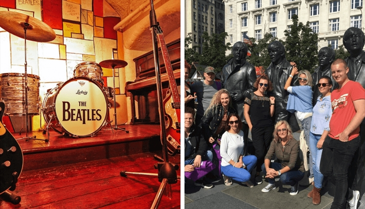 Left image is a mock up of the Cavern Stage and the right image is a group of happy people on a tour surrounding the Beatles Statue.