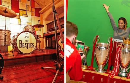 Left image is a mock up of the Cavern Stage and the right image a girl is having her photo taken next to Liverpool's trophies.
