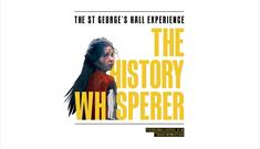 The History Whisperer artwork. A young girl surrounded by 'The History Whisperer' text in yellow.