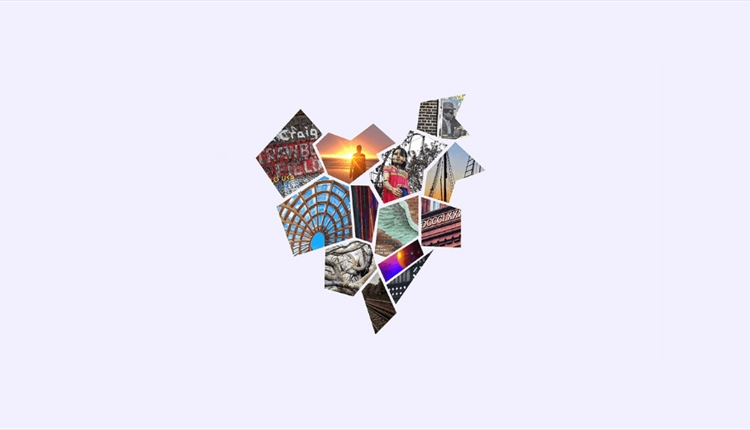 A heart made up of photos of iconic Liverpool locations and events.