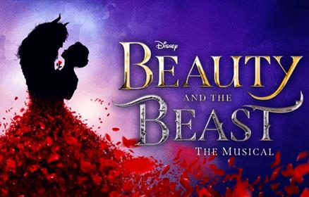 Beauty and the beast poster on a purple background with rose petals.