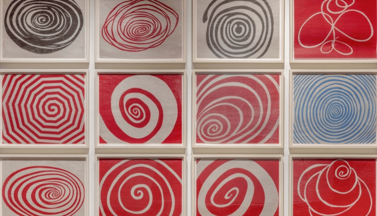 Spirals - Louise Bourgeois 2005. Red spirals in squares.
