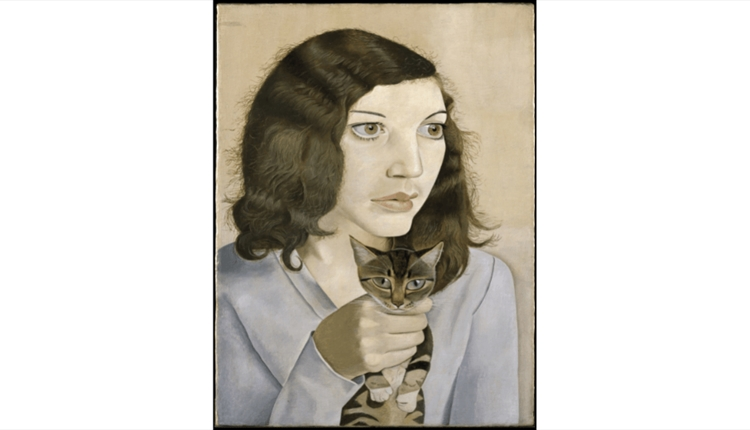 Lucian Freud - A Girl with a kitten painting