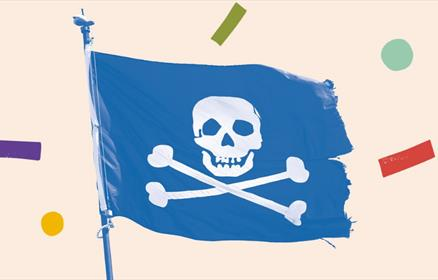 A blue pirate flag with a skull and cross bones.
