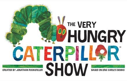 An illustration of a green and red caterpillar with the title of the show.