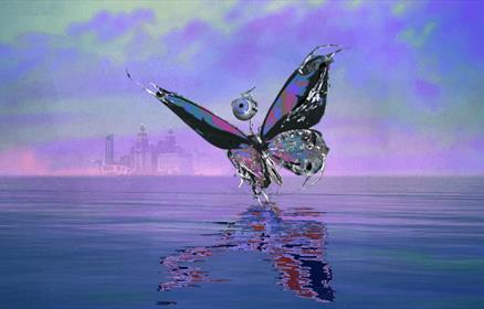 A digital creation of a butterfly flying above a purple River Mersey with the Liverpool skyline in the background.