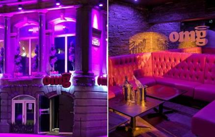 On the left, the outside of OMG Liverpool is shown lit up in pink. On the right there is a pink drinks booth with the OMG logo.