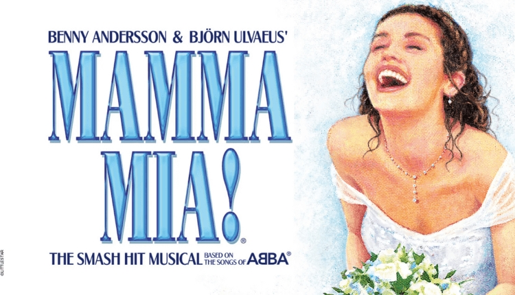 Mamma Mia! poster with drawing of a lady and logo on a white background.