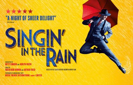 Singin' in the rain poster with a man holding an umbrella on a yellow background.