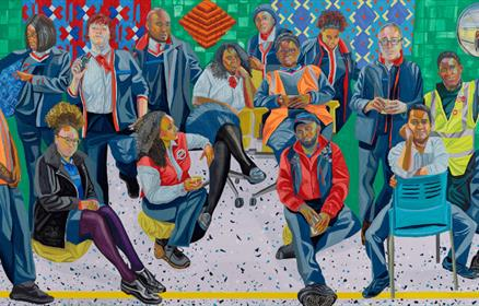 A painting by Aliza Nisenbaum of London Underground Brixton Station and Victoria Line staff.