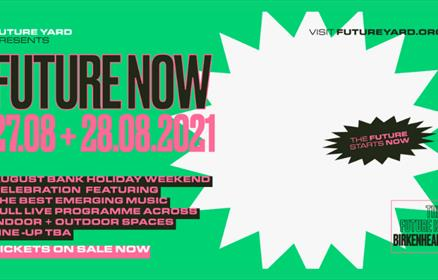 Future Now poster on a green background with white and pink graphics.