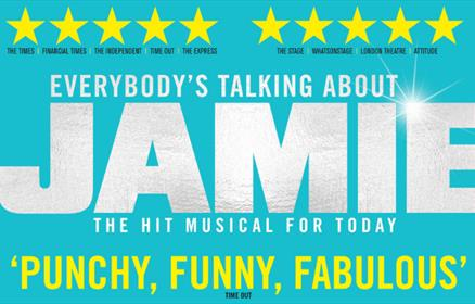Everybody's talking about Jamie poster on a blue background.