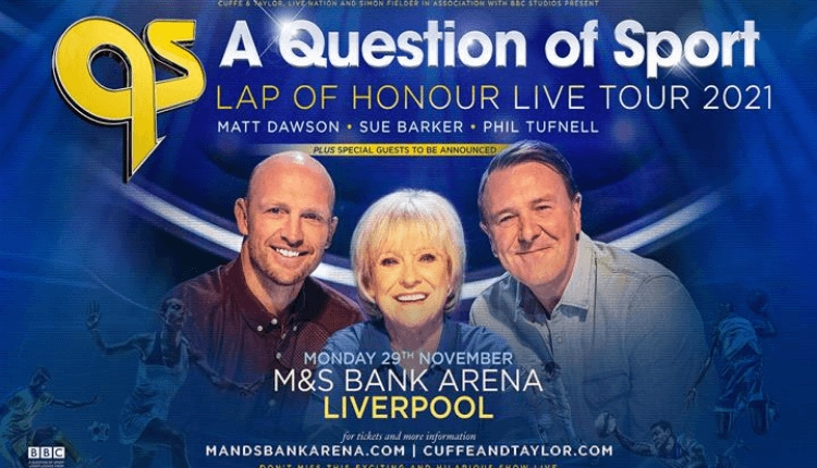 Hosts of a question of sport sitting next to each other with graphics of the name, date and location.