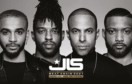 Black and white photograph of the four members of JLS.