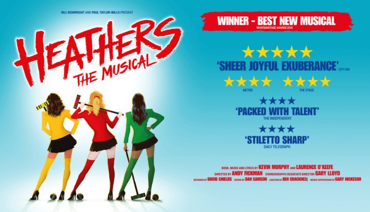 Heathers The Musical promotional poster with reviews and three people dressed in yellow, red and green.