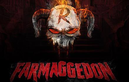 A devilish skull with horns and red eyes on a black background. Farmaggedon is written in spooky red writing.