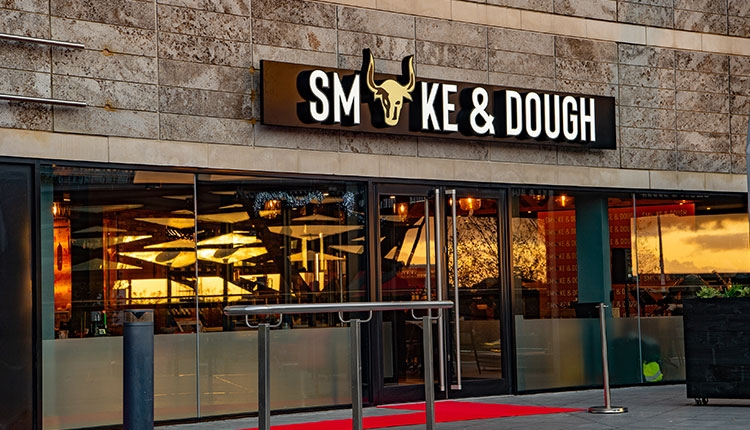 Stone exterior of Smoke & Dough on the terrace at Liverpool ONE