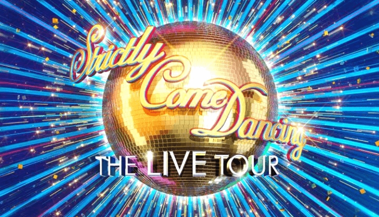 Gold glitter ball with Strictly Come Dancing logo and a blue background.