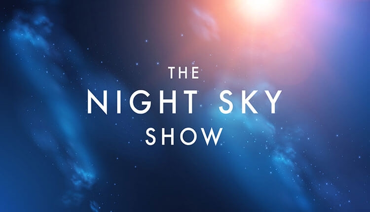 The Night Sky Show logo on a night sky background with stars and the sun.