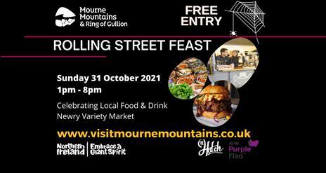 Rolling Street Feast banner, Halloween event on Sunday 31 Octobe1 2021