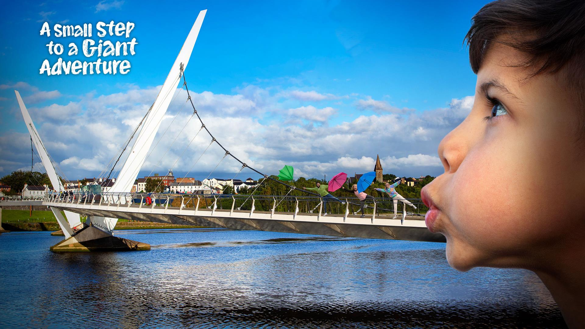 Summer campaign image showing a forced perspective of the Peace Bridge in Derry~Londonderry with a child appearing to blow the bridge out of their mouth