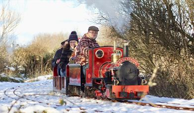 a photo of a group of adults on a small train surrounded by snow and trees