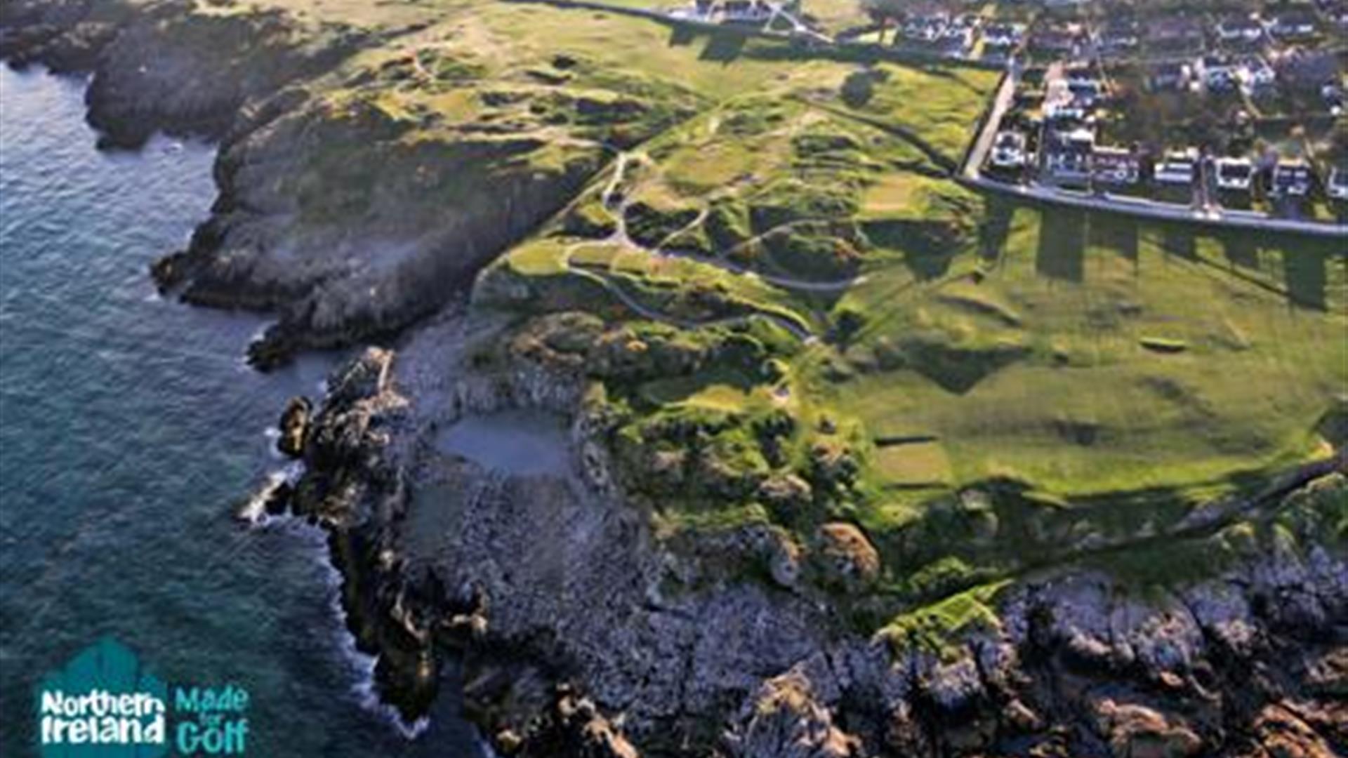 A birds' eye view of Ardglass Golf Club, Ardglass