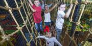 Image is of children climbing up ropes
