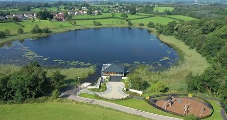 An aerial view of Roundlake Caravan park and children's play area