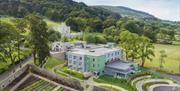 Aerial view of Killeavy Castle Estate. A luxury Hotel Spa destination in Newry, Northern Ireland.