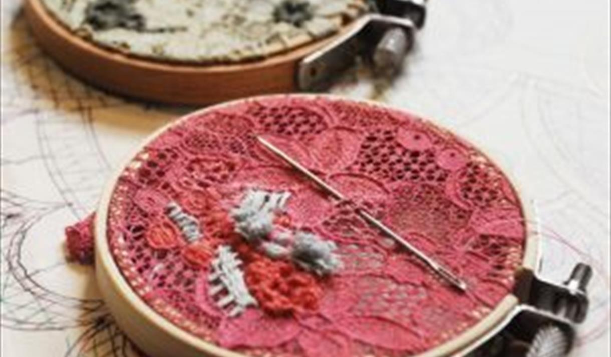 Embroidered Nottingham Lace Hoop Crafternoon
