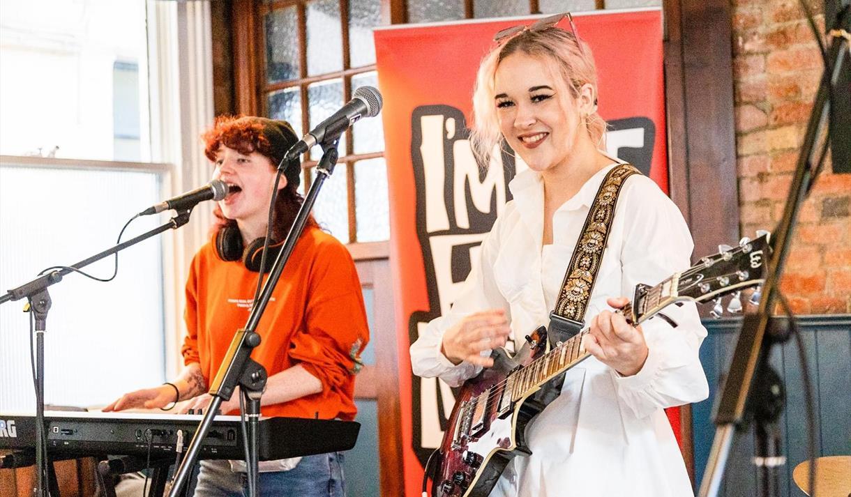 Girls performing at gig