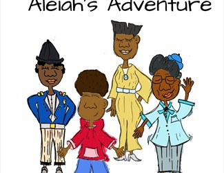 Cartoon of Aleiah and her family