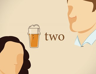 Stylised image of two people and a pint of lager