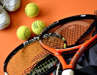 tennis equipment, racquet and balls