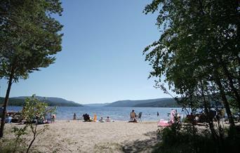 Skyfri himmel, varm dag, sjø, badegjester